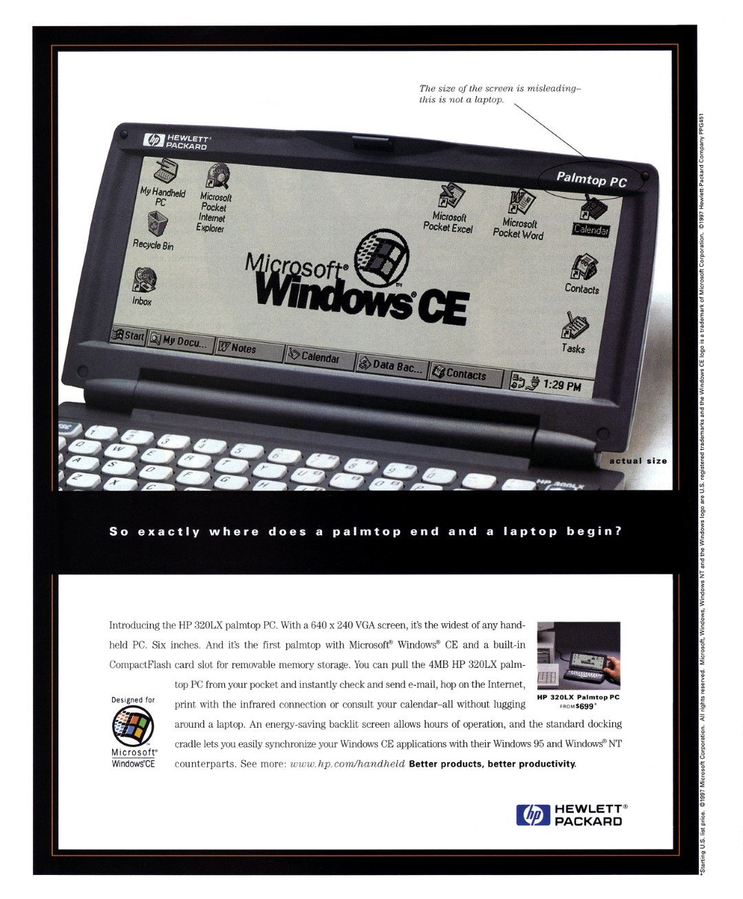 """The HP 320LX ad reads, """"So exactly where does a palmtop end and a laptop begin?"""""""