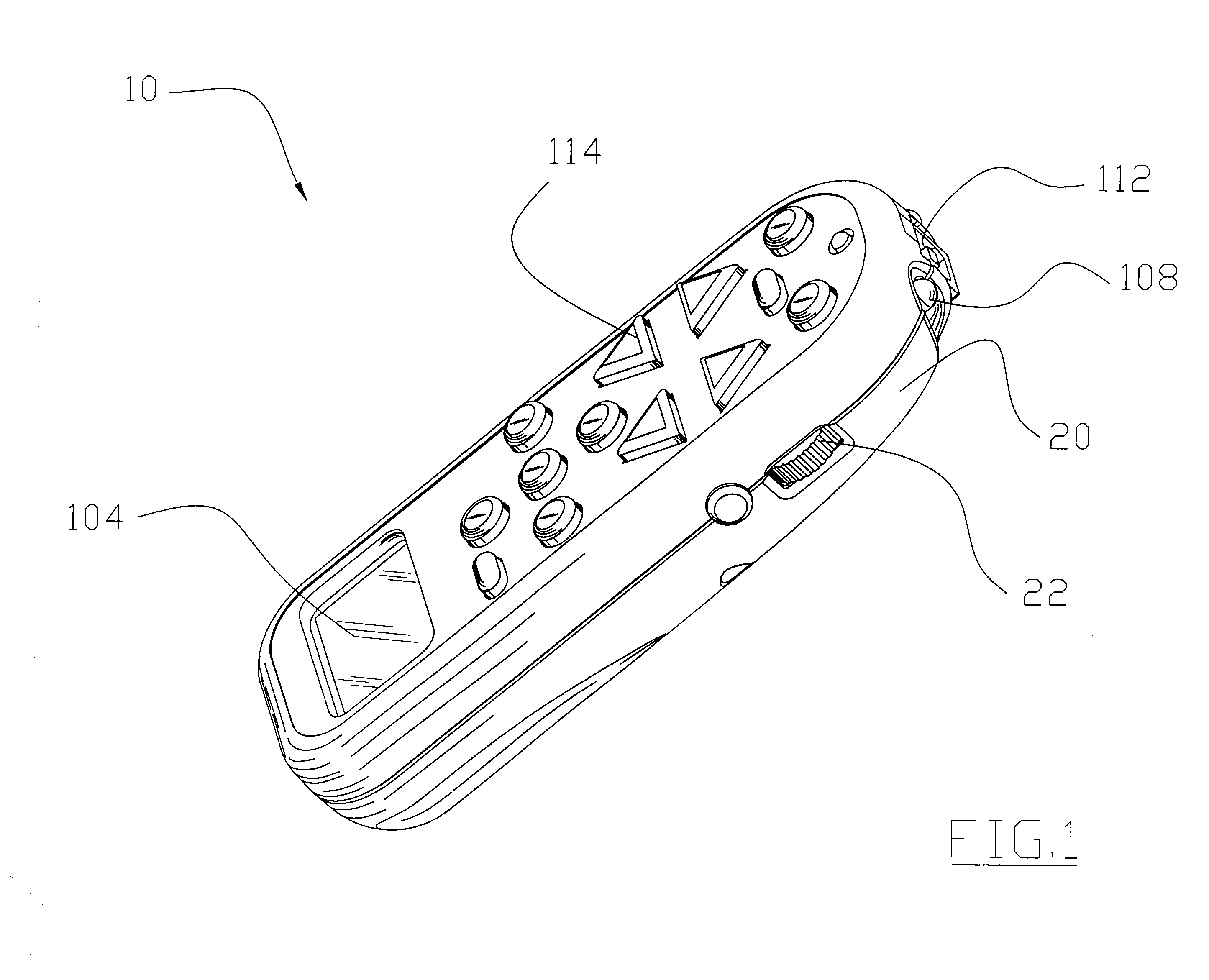 A patent drawing of the original Harmony remote by Easy Zapper, complee with a side dial and a LCD screen on the bottom.