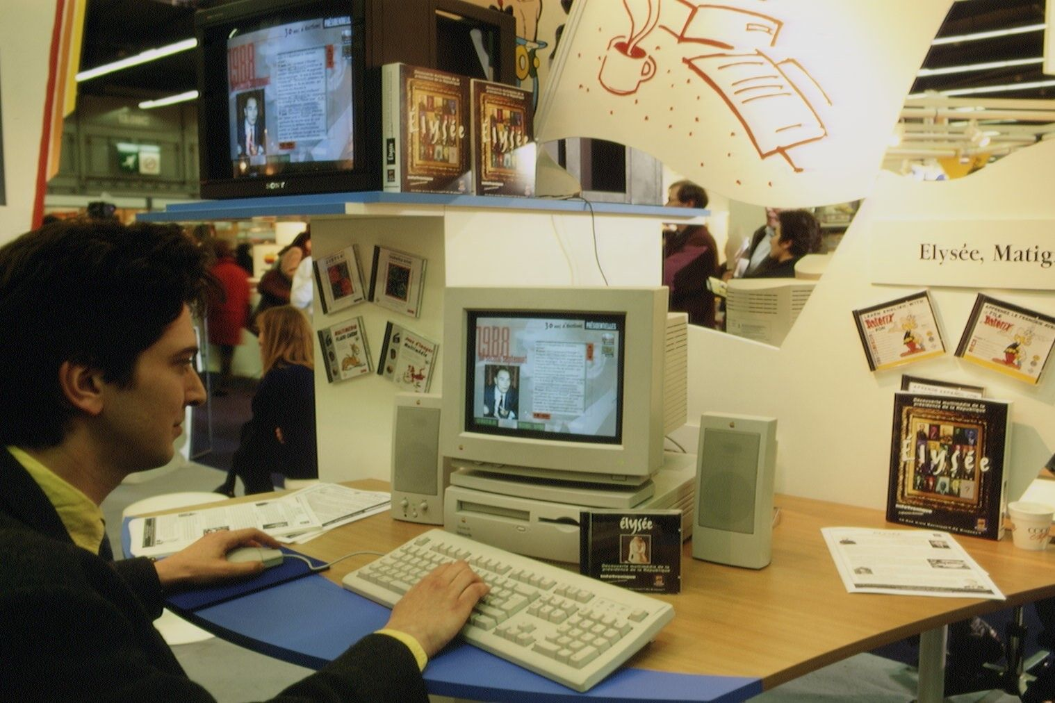 CD-ROM publishers were presenting their work during the Paris Book Fair in 1995.